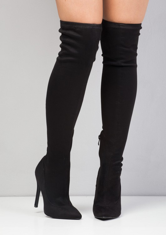 Over The Knee High Long Faux Suede Stiletto Heeled Boots Black