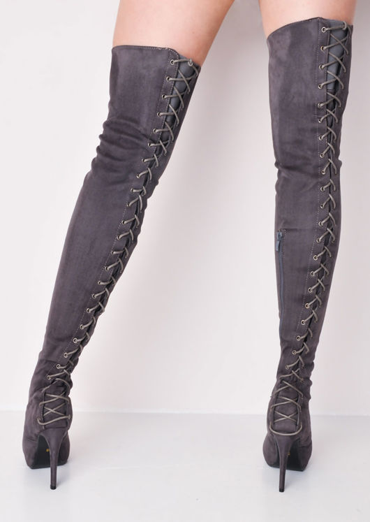 over the knee thigh high faux suede lace up back stiletto heel long boots grey