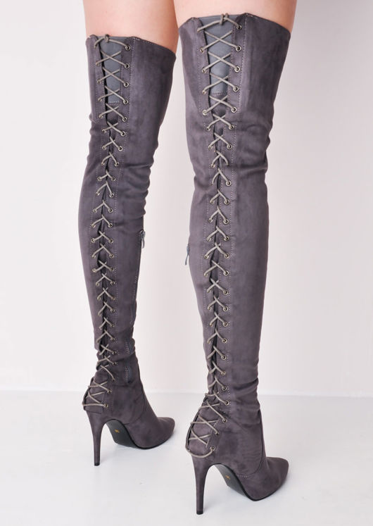 87c1457ced0 over the knee thigh high faux suede lace up back stiletto heel long boots  grey