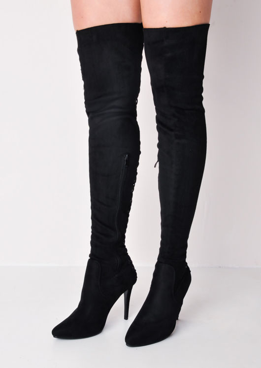 limpid in sight special section provide large selection of Over The Knee Thigh High Faux Suede Lace Up Back Stiletto Long Boots Black