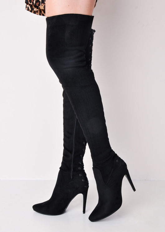Over The Knee Thigh High Faux Suede Lace Up Back Block Heel Long Boots Black