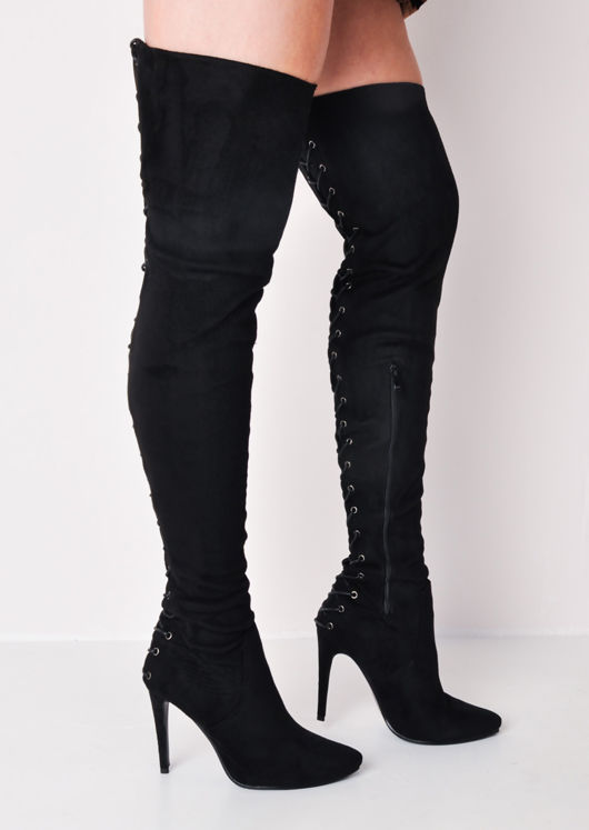 0f61fee2945 Over The Knee Thigh High Faux Suede Lace Up Back Stiletto Long Boots Black