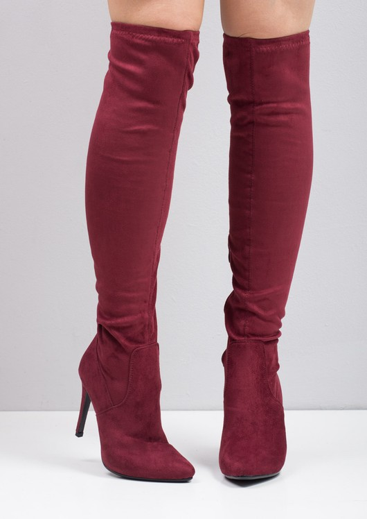 c16f130c6ca Over The Knee High Long Faux Suede Stiletto Heeled Boots Burgundy
