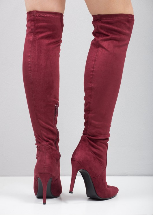 5bcd1932620 Over The Knee High Long Faux Suede Stiletto Heeled Boots Burgundy Red