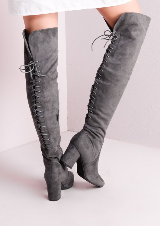 98e863a02c4 Mid Chunky Heel Over the Knee Lace Up Long Boots Grey
