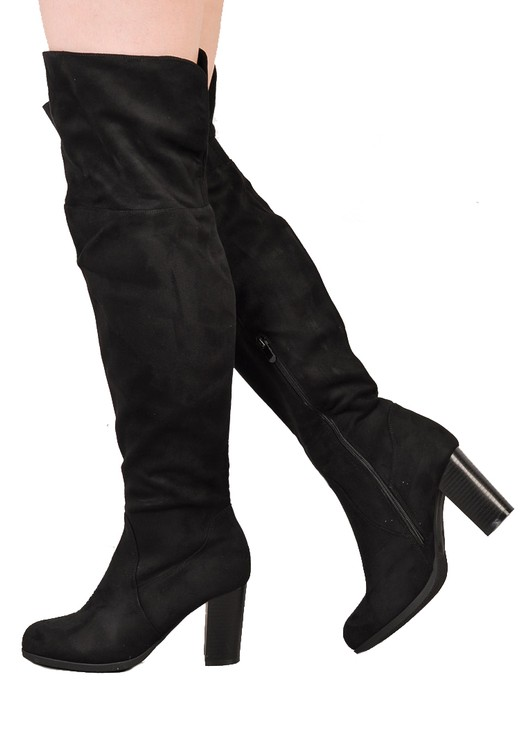 Over The Knee Block Heel Open Back Suede Heeled Boots Black
