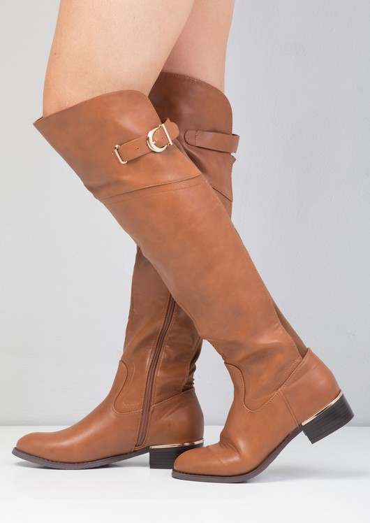 Faux Leather Flat Knee High Long Riding Style Boots Brown