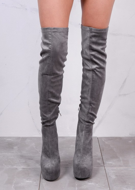 Over The Knee Round Block Heel Platform Suede Long Boots Grey