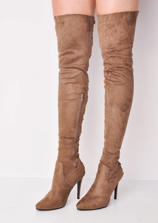 9a0c83e0d0b5 Over The Knee Thigh High Faux Suede Lace Up Back Block Heel Long Boots Brown