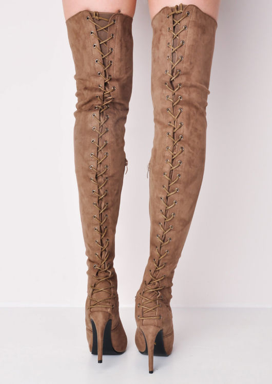 f23885c5d78 Over The Knee Thigh High Faux Suede Lace Up Back Block Heel Long Boots Brown