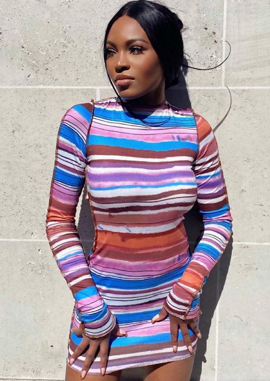 Long Sleeve Stripe Patterned Open Back Mini Dress Multi