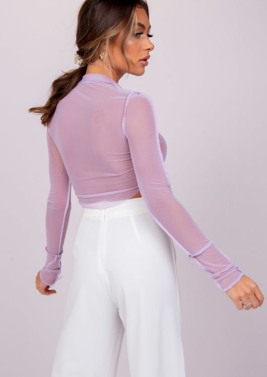 Raw Edge Mesh Crop Top Purple