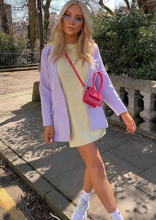Oversized Tailored Longline Blazer Purple