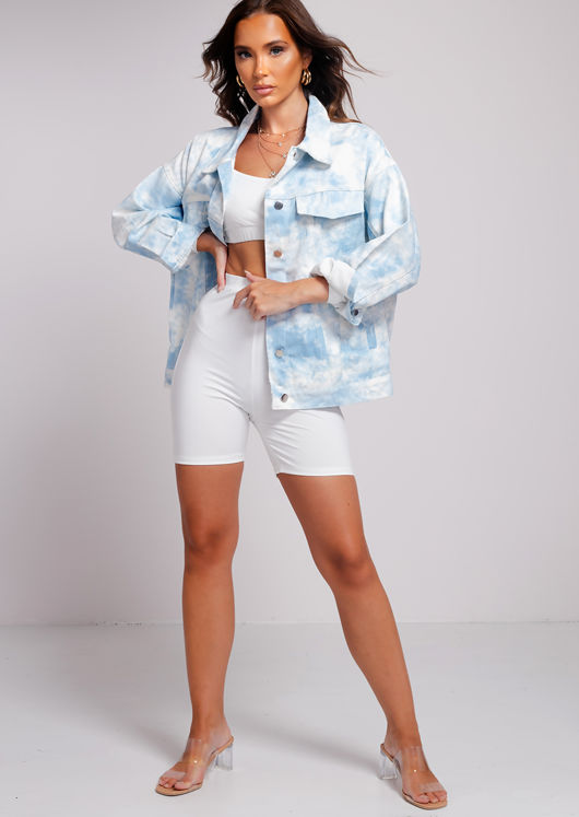 Oversized Button Down Denim Jacket Tie Dye Blue