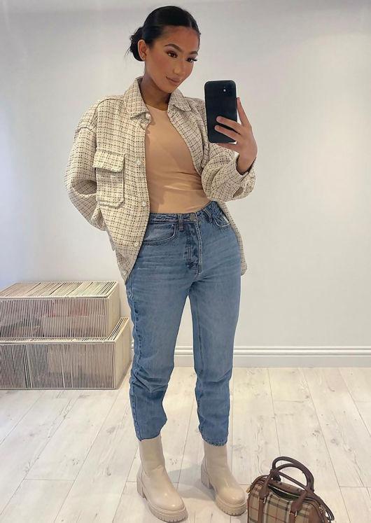 Oversized Tweed Plaid Shacket Shirt Jacket Beige