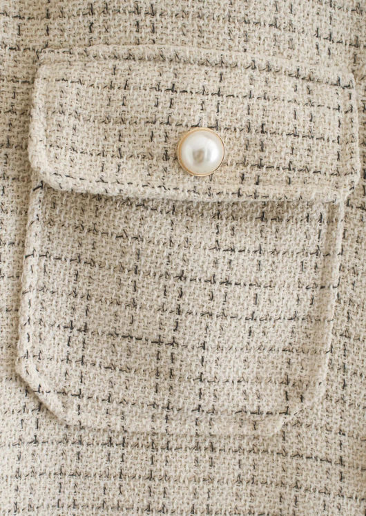 Oversize Plaid Tweed Pearl Button Down Shirt Jacket Beige
