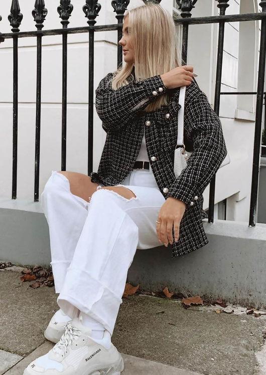 Oversized Tweed Plaid Shacket Shirt Jacket Black