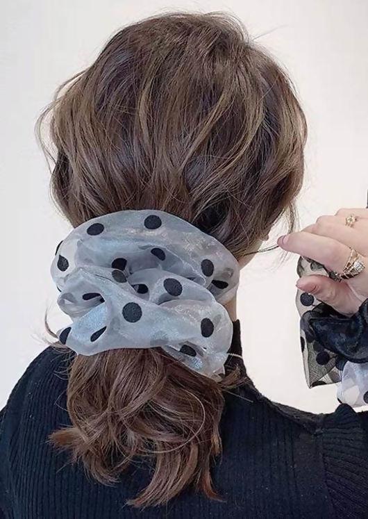 Oversize Polka Dot Mesh Scrunchy Hair Tie Blue