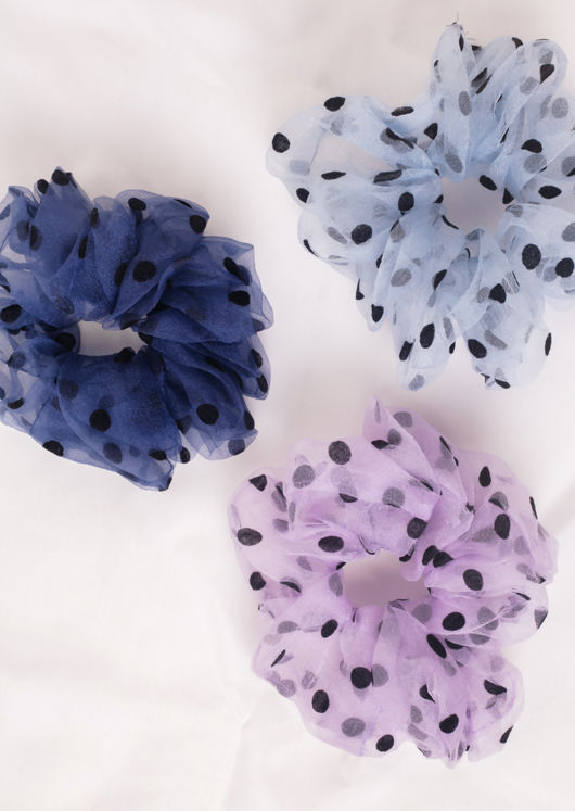 Oversize Polka Dot Mesh Scrunchie Hair Tie Navy Blue
