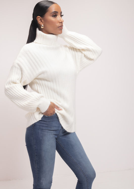 Oversized Ribbed Knit Jumper Turtle Neck Sweater Beige