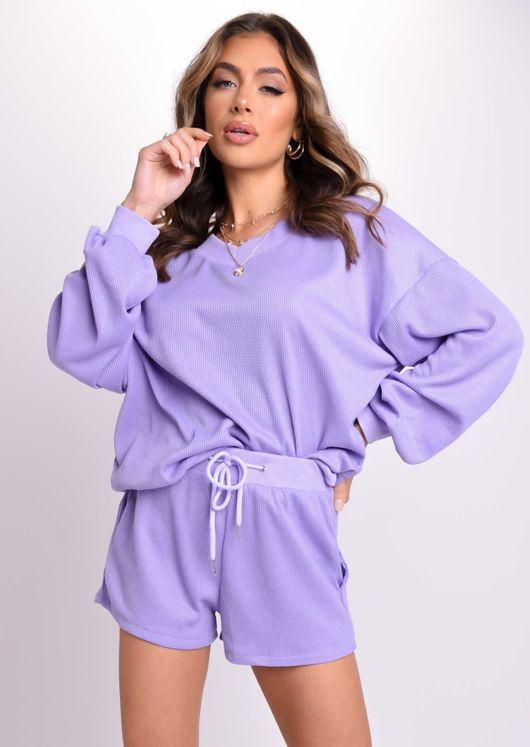 Oversized V Neck Jumper And Shorts Co-Ord Set Purple
