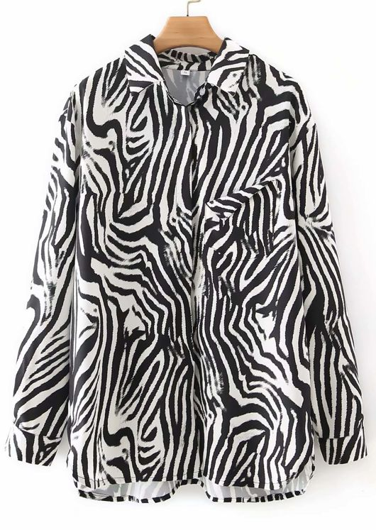 Oversized Animal Print Unfinished Patch Pocketed Shirt Top Multi
