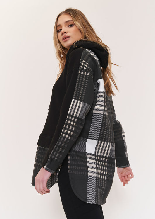 Oversized Asymmetrical Checked Patterned Hoodie Top Black