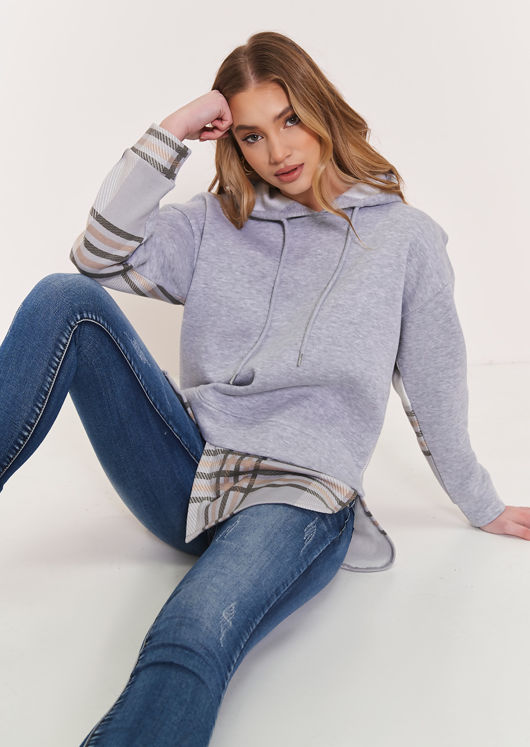 Oversized Asymmetrical Checked Patterned Hoodie Top Grey