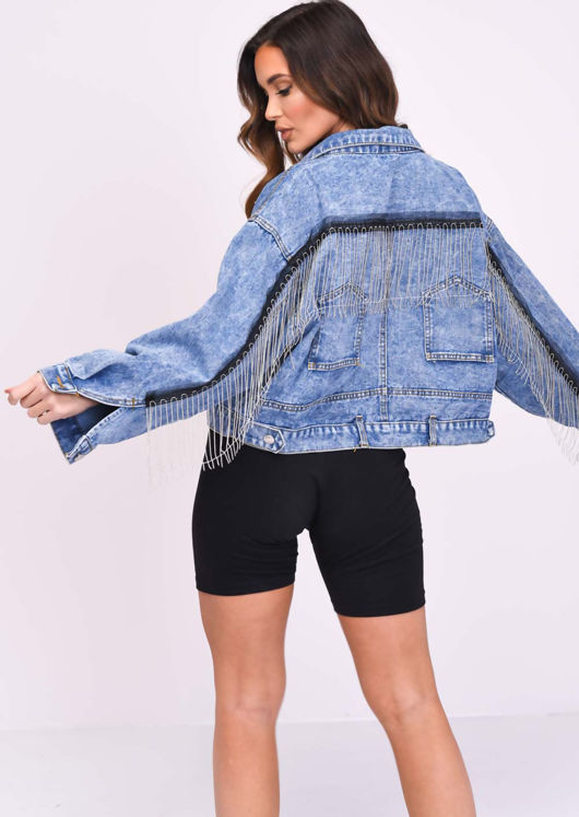 Oversized Cropped Fringe Denim Jacket Blue