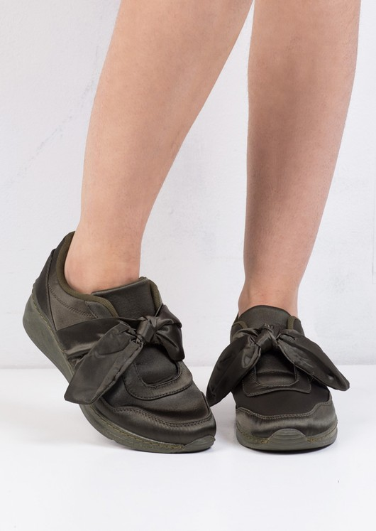 Oversized Bow Tie Satin Trainers Khaki Green