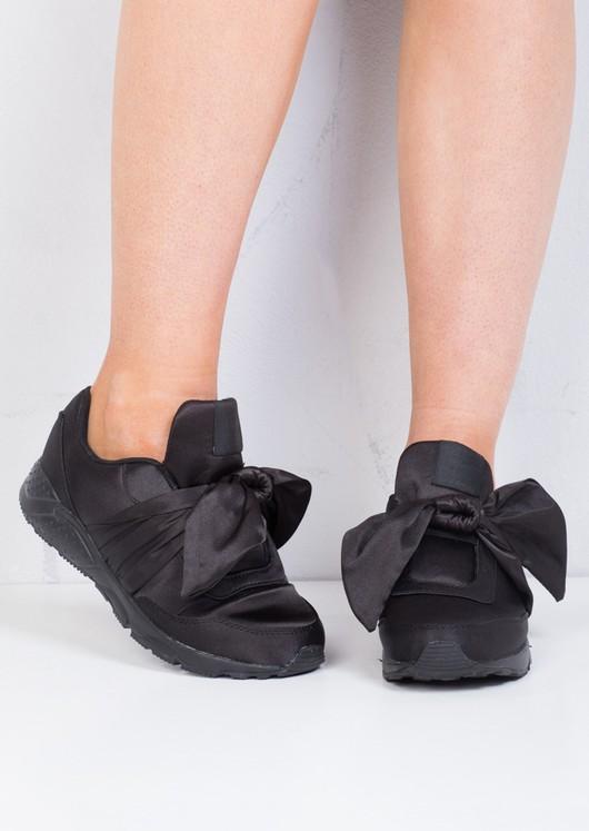 Oversized Bow Tie Satin Trainers Shoes Khaki Black
