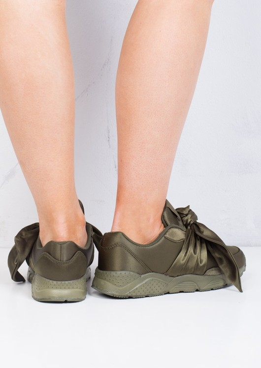 Oversized Bow Tie Satin Trainers Shoes Khaki Green