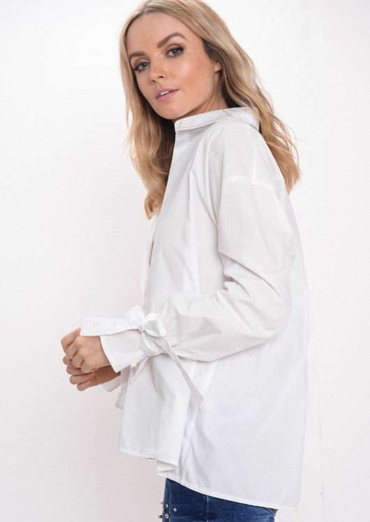 Oversized Bow Tie Sleeve Shirt White