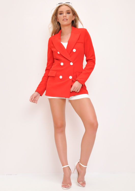 Oversized Boyfriend Blazer Jacket Red