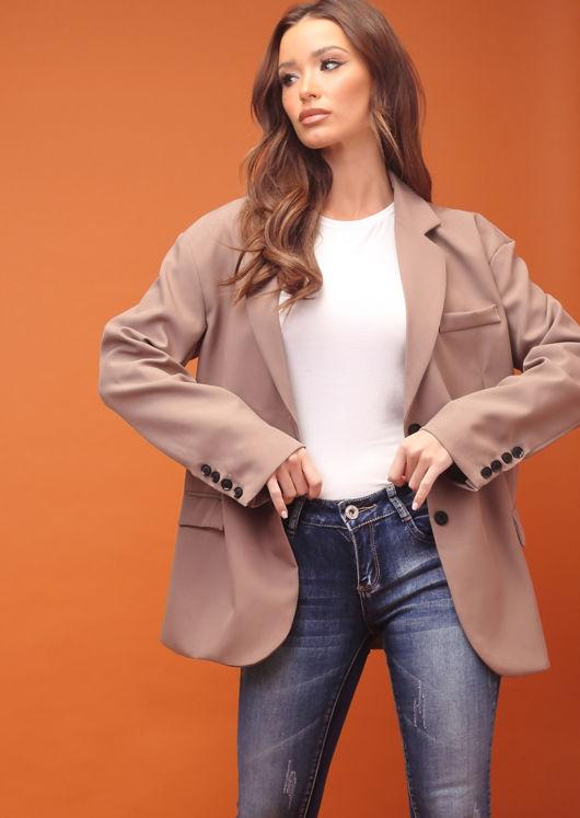 Oversized Boyfriend Double Breasted Side Pockets Blazer Jacket Brown