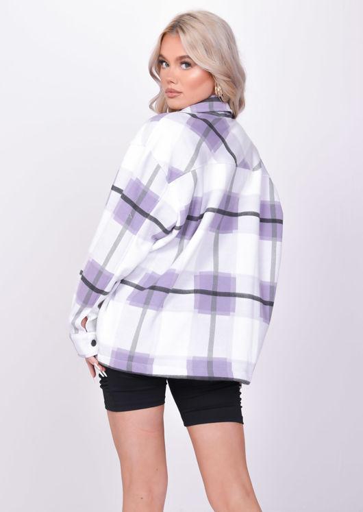 Oversized Brushed Checked Utility Shirt Jacket Purple