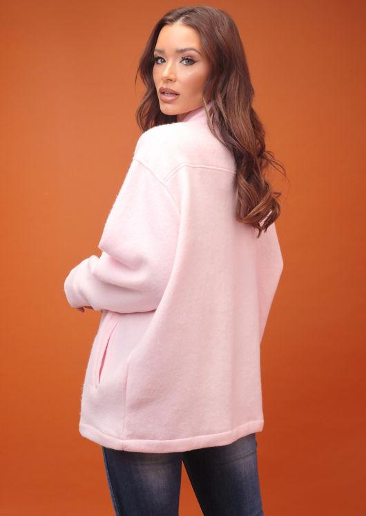 Oversized Brushed Utility Shirt Jacket Baby Pink