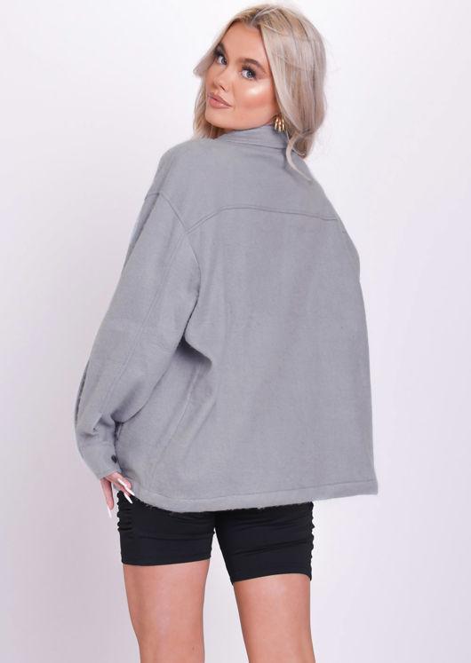 Oversized Brushed Utility Shirt Jacket Dark Grey