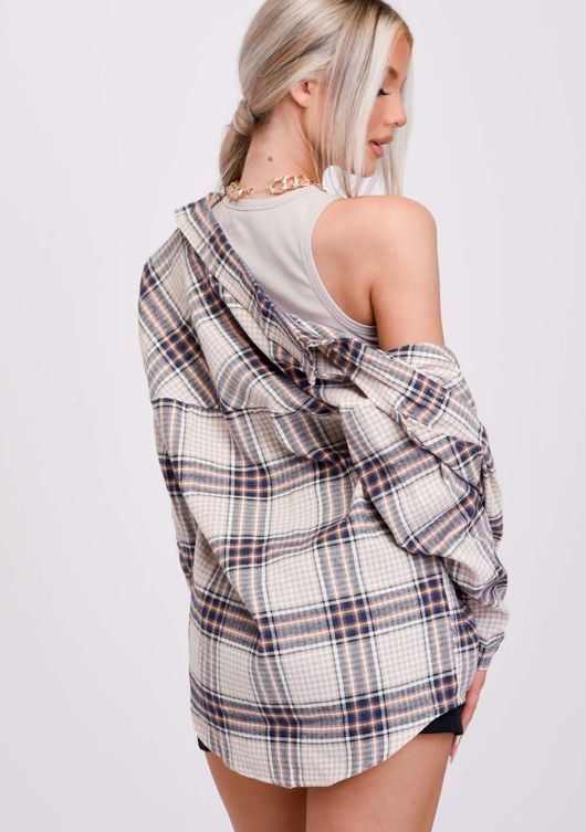 Oversized Button Down Checked Shirt Brown