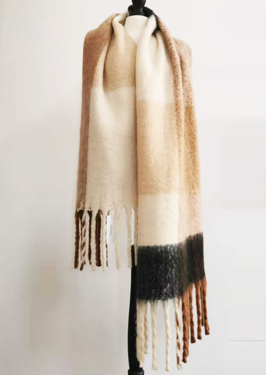 Chunky Checked Wool Wide Length Tassel End Scarf Brown