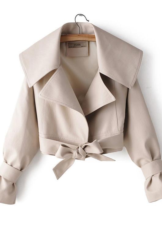 Oversized Collared Cropped Waist Belted Pu Biker Jacket Beige