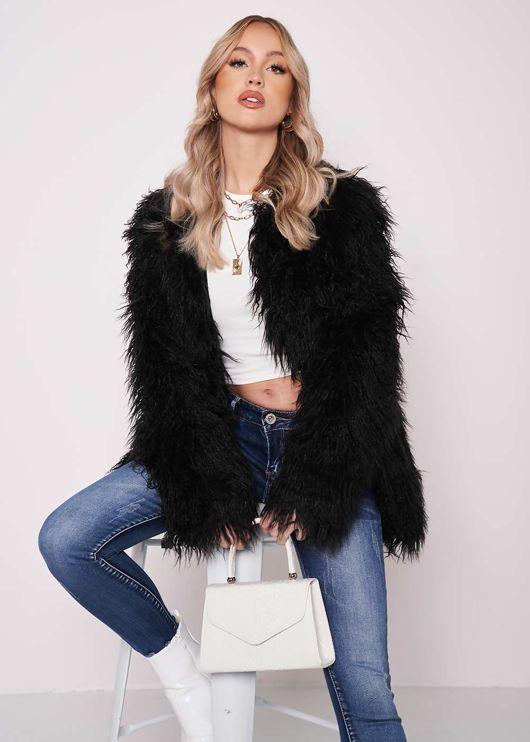 Oversized Shaggy Faux Fur Coat Jacket Black