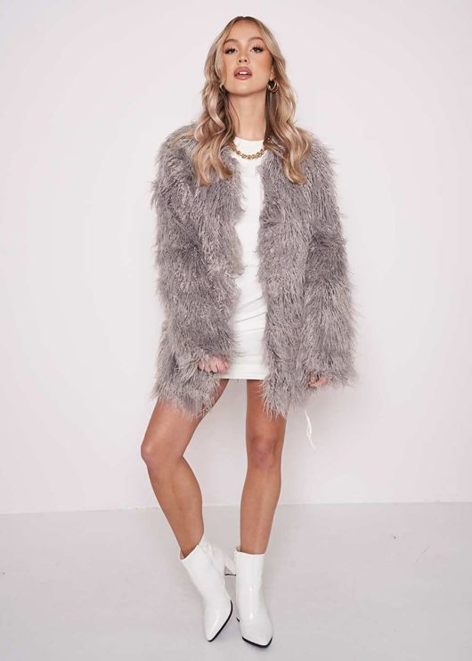 Oversized Shaggy Faux Fur Coat Jacket Grey