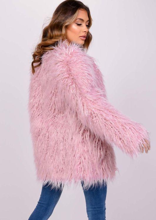 Oversized Shaggy Faux Fur Coat Jacket Pink