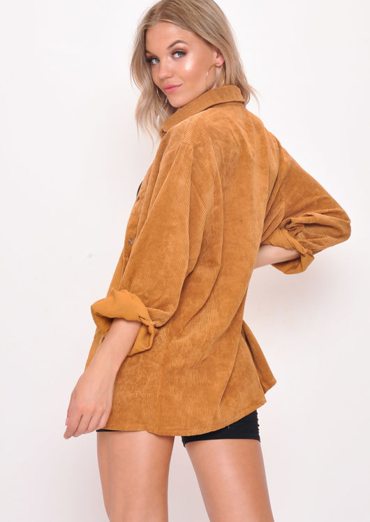 Oversized Corduroy Button Through Shirt Camel Brown