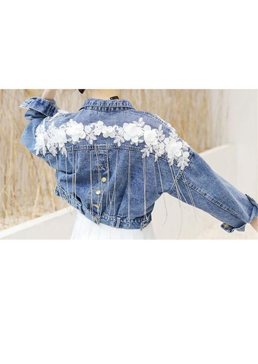 Oversized Cropped Embroidered Fringe Denim Jacket Blue