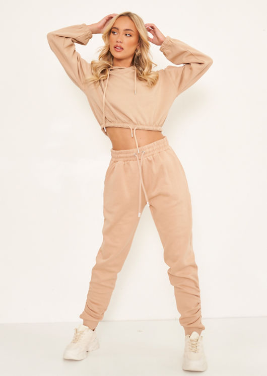Oversized Cropped Hoodie And Ruched Hem Jogger Co-Ord Set Beige