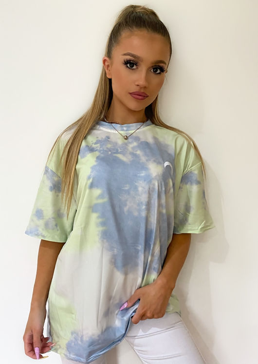 Oversized Dip Dye Tshirt Top Blue