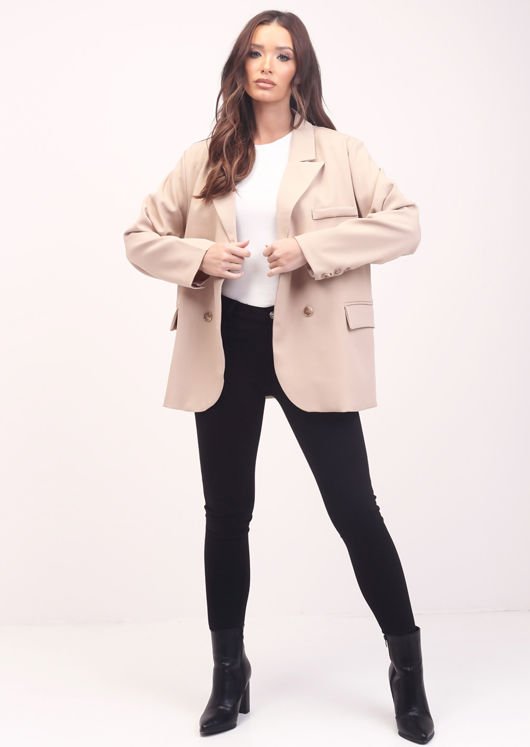 Oversized Double Breasted Button Sleeve Boyfriend Blazer Jacket Beige