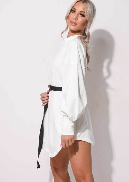 Oversized Drop Shoulder Utility Belt Sweater Dress White
